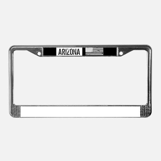 Black & White U.S. Flag: Arizo License Plate Frame