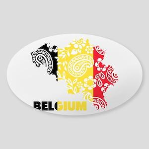 Belgium Paisley Sticker (Oval)