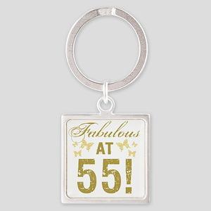 Fabulous 55th Birthday Square Keychain