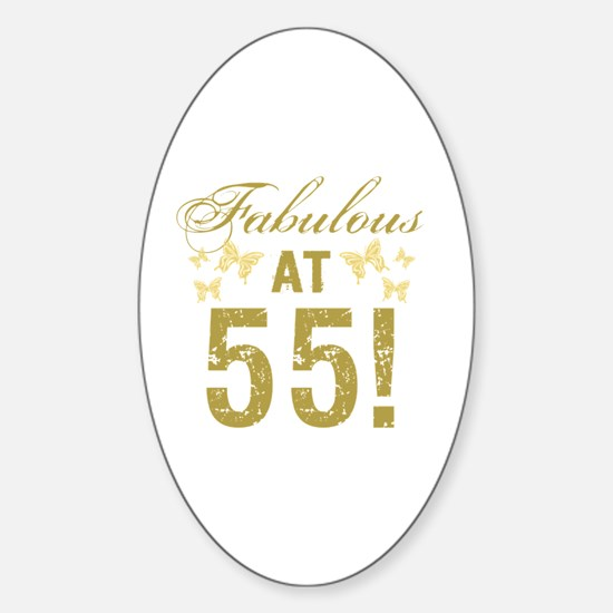 Fabulous 55th Birthday Sticker (Oval)