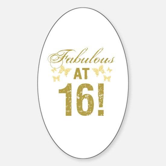Fabulous 16th Birthday Sticker (Oval)