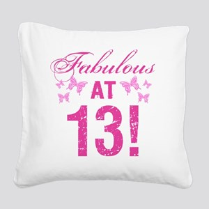 Fabulous 13th Birthday Square Canvas Pillow