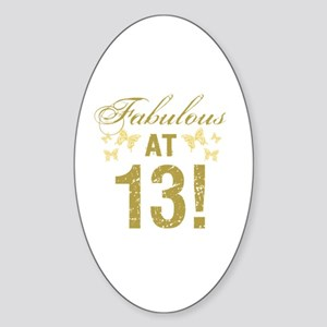 Fabulous 13th Birthday Sticker (Oval)