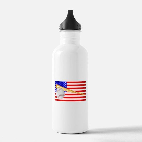 Baseball and Bat Flag Water Bottle