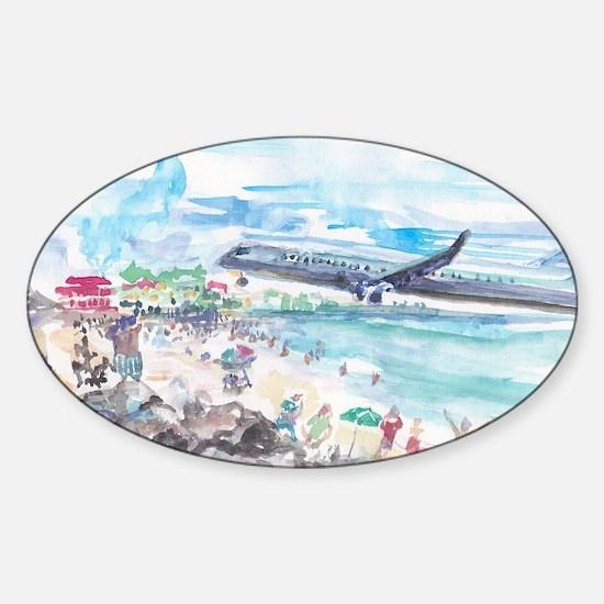 Sunset Beach SXM Sticker (Oval)