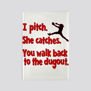 I PITCH, SHE CATCHERS Rectangle Magnet