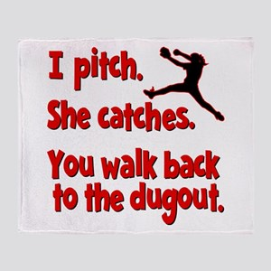 I PITCH, SHE CATCHERS Throw Blanket