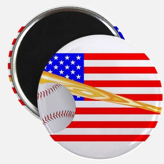 Baseball and Bat Flag Magnets