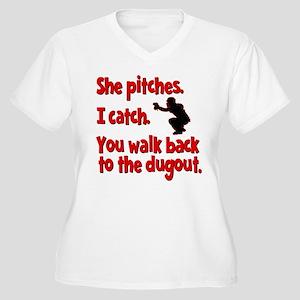 SHE PITCHES, I CA Women's Plus Size V-Neck T-Shirt