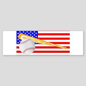 Baseball and Bat Flag Bumper Sticker