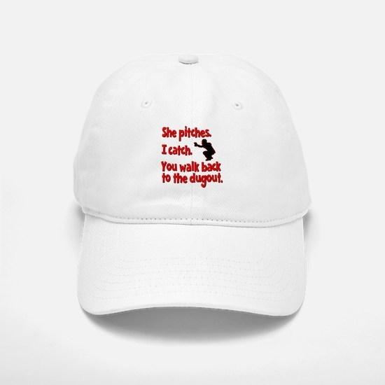 SHE PITCHES, I CATCH Baseball Baseball Cap