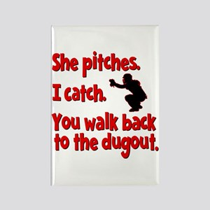 SHE PITCHES, I CATCH Rectangle Magnet