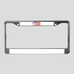 Baseball and Bat Flag License Plate Frame