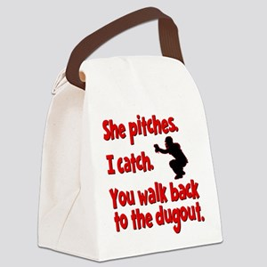 SHE PITCHES, I CATCH Canvas Lunch Bag
