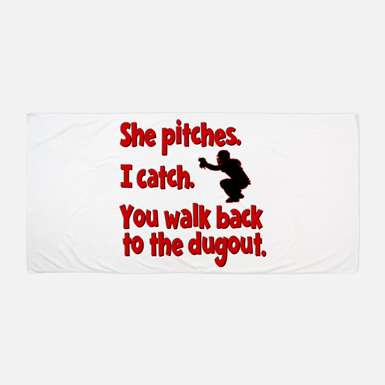 SHE PITCHES, I CATCH Beach Towel