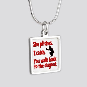 SHE PITCHES, I CATCH Silver Square Necklace