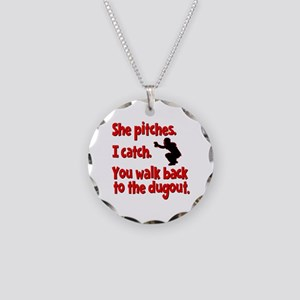 SHE PITCHES, I CATCH Necklace Circle Charm