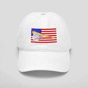 Baseball and Bat Flag Cap