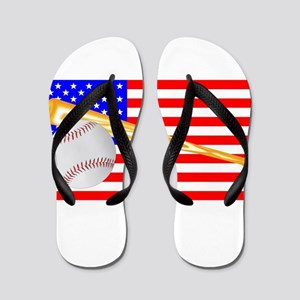 Baseball and Bat Flag Flip Flops