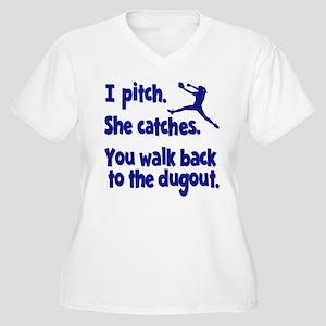 I PITCH, SHE CATC Women's Plus Size V-Neck T-Shirt