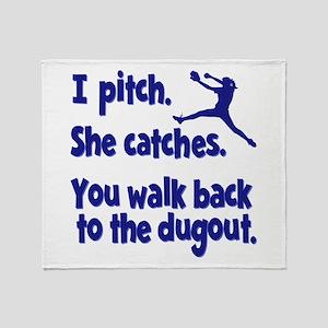 I PITCH, SHE CATCHERS Throw Blanket