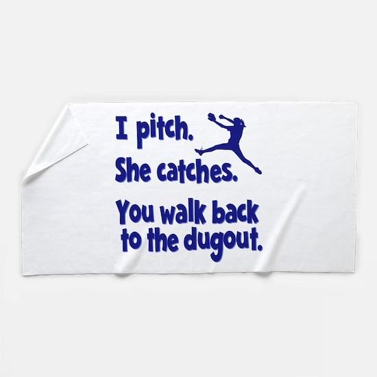 I PITCH, SHE CATCHERS Beach Towel