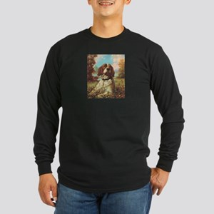 Vintage Brittany Spaniel Long Sleeve Dark T-Shirt