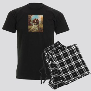 Vintage Brittany Spaniel Men's Dark Pajamas