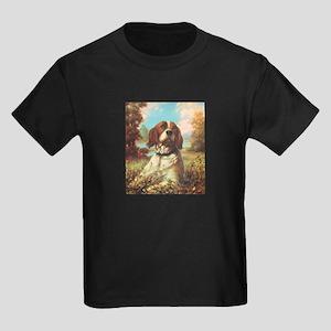 Vintage Brittany Spaniel Kids Dark T-Shirt