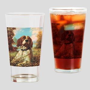 Vintage Brittany Spaniel Drinking Glass