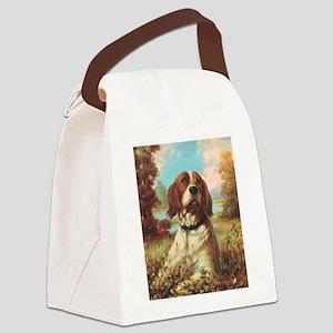 Vintage Brittany Spaniel Canvas Lunch Bag