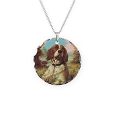 Vintage Brittany Spaniel Necklace Circle Charm