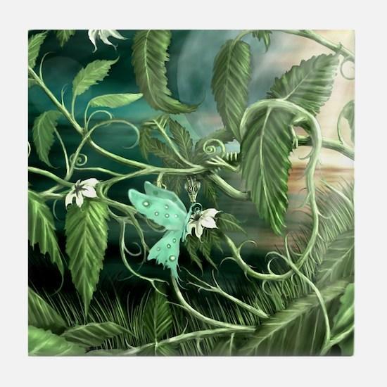 lily leaf dragon Tile Coaster