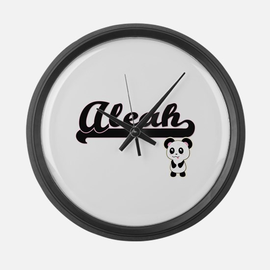 Aleah Classic Retro Name Design w Large Wall Clock