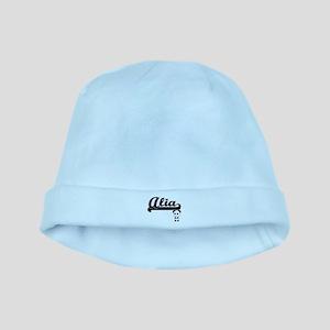 Alia Classic Retro Name Design with Panda baby hat