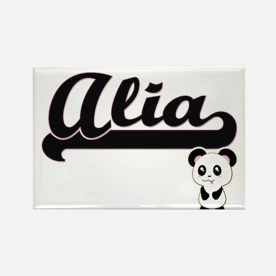 Alia Classic Retro Name Design with Panda Magnets