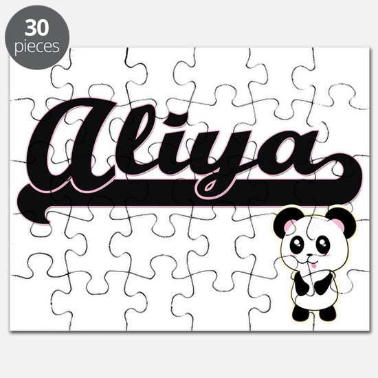Aliya Classic Retro Name Design with Panda Puzzle