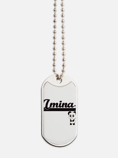 Amina Classic Retro Name Design with Pand Dog Tags