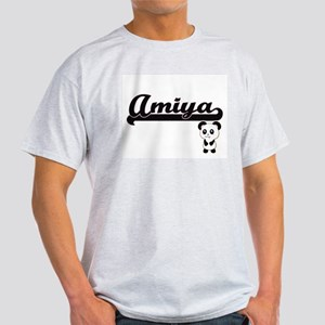 Amiya Classic Retro Name Design with Panda T-Shirt