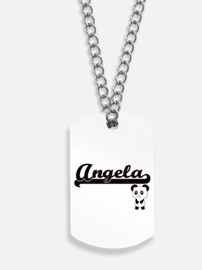 Angela Classic Retro Name Design with Pan Dog Tags
