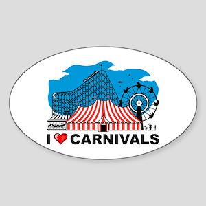 I Love Carnival Oval Sticker