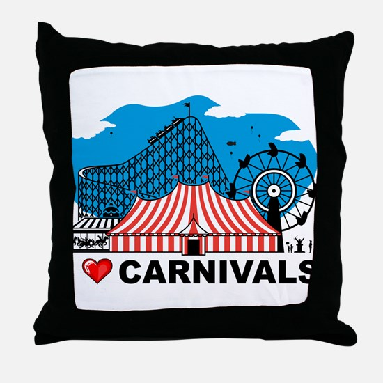 I Love Carnival Throw Pillow