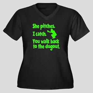 SHE PITCHES, Women's Plus Size V-Neck Dark T-Shirt