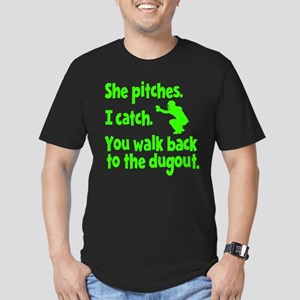 SHE PITCHES, I CATCH Men's Fitted T-Shirt (dark)
