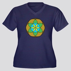 Seed of Life Women's Plus Size V-Neck Dark T-Shirt