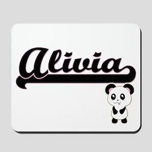 Alivia Classic Retro Name Design with Pa Mousepad