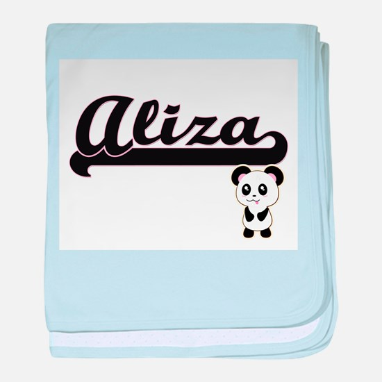 Aliza Classic Retro Name Design with baby blanket