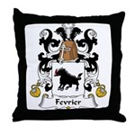 Fevrier Family Crest Throw Pillow