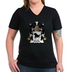 Fevrier Family Crest Women's V-Neck Dark T-Shirt