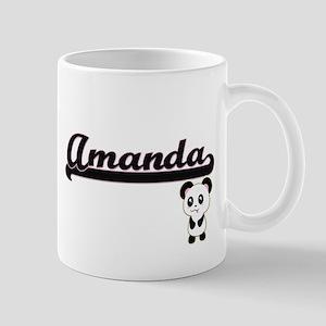 Amanda Classic Retro Name Design with Panda Mugs